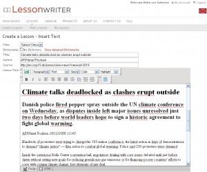 Copy-paste er ikke kun et trick eleverne kan bruge. Med LessonWriter kan man lave en helt aktuel tekst klar til skolebrug på 10 minutter.