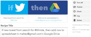 Her en opskrift der opsamler tweets og gemmer den i et Google Spreadsheets.