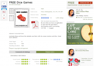 FREE Dice Games by The Lesson Plan Diva   Teachers Pay Teachers
